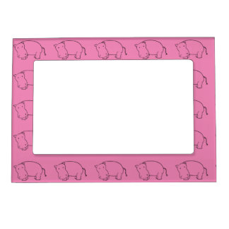 pink hippo magnetic picture frame