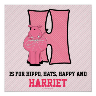 "Pink Hippo Monogrammed ""H"" Baby Room Poster"