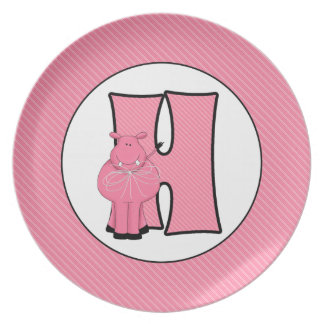 """Pink Hippo Monogrammed """"H"""" Kid's Plate"""