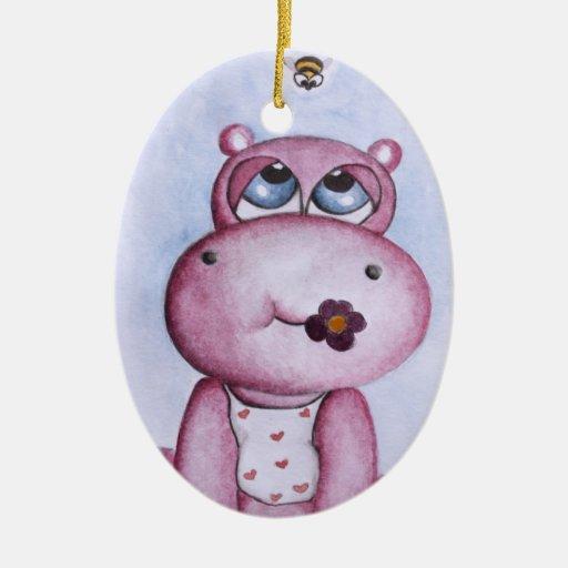 Pink Hippo Ornament