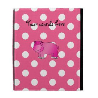 Pink hippo pink polka dots iPad folio covers