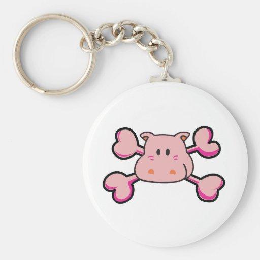 pink hippo Skull pink Crossbones Key Chain
