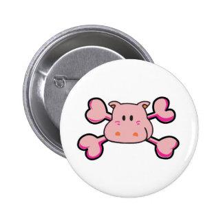 pink hippo Skull pink Crossbones Pinback Button