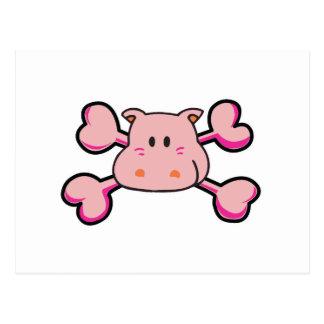 pink hippo Skull pink Crossbones Postcard