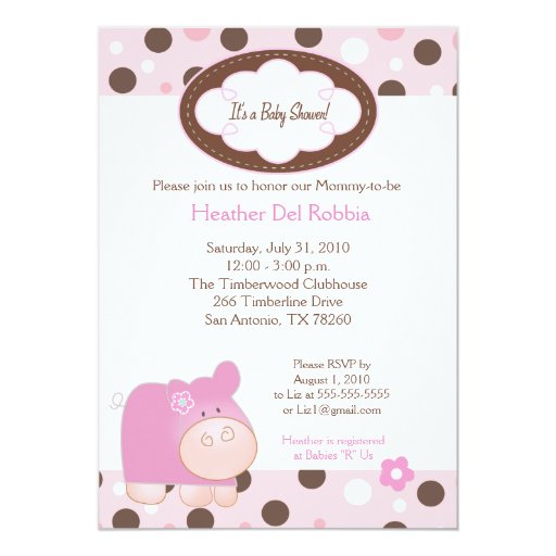 Pink Hippo Trendy Dot Baby Shower Invitation 5x7
