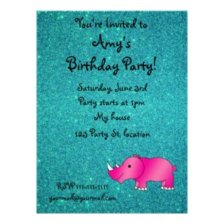Pink hippo turquoise glitter invitation