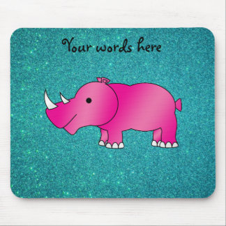 Pink hippo turquoise glitter mouse pad