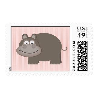 Pink Hippopotamus Postage Stamp