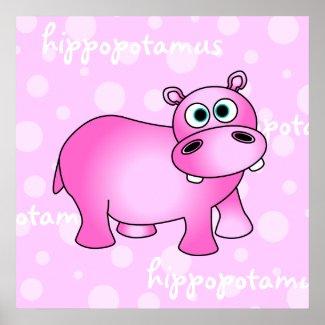 Pink Hippopotamus Poster / Print Nursery Wall Art print