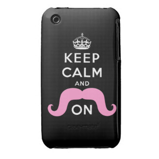 Pink Hipster Mustache Keep Calm Carry On iPhone 3 Case-Mate Case