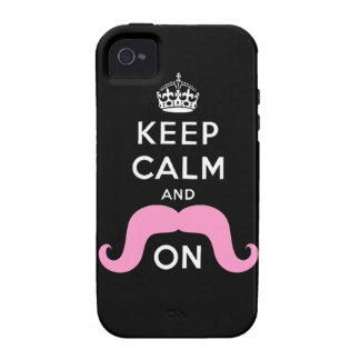 Pink Hipster Mustache Keep Calm Carry On iPhone 4 Cover