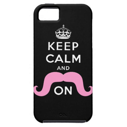 Pink Hipster Mustache Keep Calm Carry On iPhone SE/5/5s Case