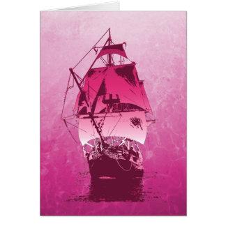 Pink Historical Ship Card