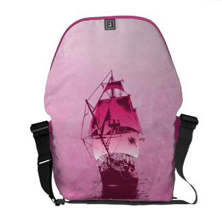 Pink Historical Ship Courier Bag