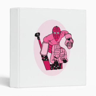 Pink Hockey Goalie 3 Ring Binder