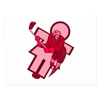 Pink Hockey Player Girl Postcard