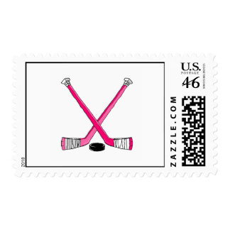 Pink Hockey Postage Stamps
