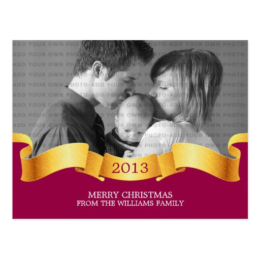 Pink Holiday Banner Photo Postcard