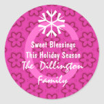 Pink Holiday Snowflakes and Monogram Sticker