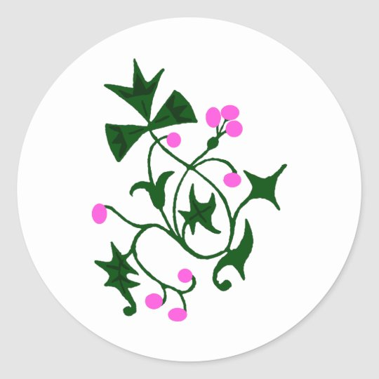 Pink Holly Classic Round Sticker
