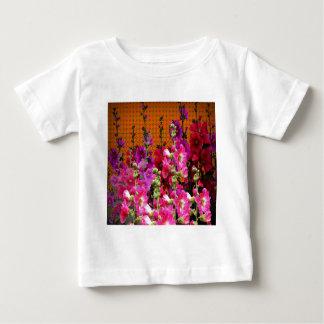 PINK HOLLYHOCK AMBER COLOR GARDEN BABY T-Shirt