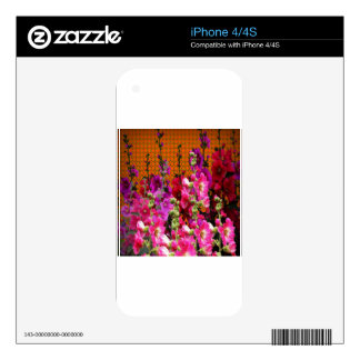 PINK HOLLYHOCK AMBER COLOR GARDEN DECAL FOR THE iPhone 4