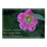 Pink hollyhock flower woman quote greeting card