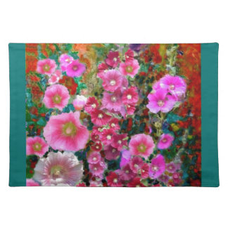 Pink Hollyhock Garden Gifts by Sharles Place Mat
