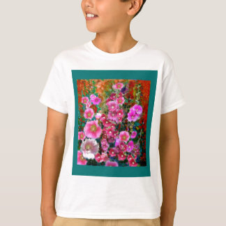 Pink Hollyhock Garden Gifts by Sharles T-Shirt