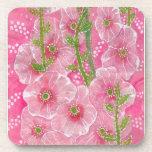 Pink Hollyhock Mallow Malva Flower Floral Painting Beverage Coaster