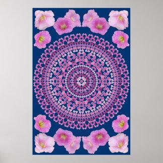 Pink Hollyhock Mandala 1A Poster