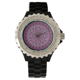 Pink Hollyhock Mandala Watch