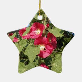 Pink Hollyhocks Double-Sided Star Ceramic Christmas Ornament
