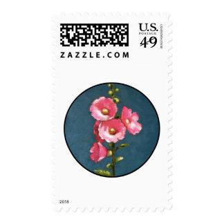 PINK HOLLYHOCKS IN CIRCLE (Oil Pastel) Postage