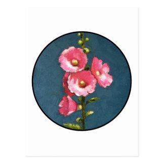 PINK HOLLYHOCKS IN CIRCLE (Oil Pastel) Postcard