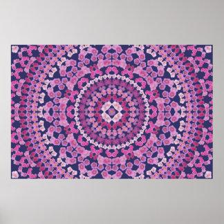 Pink Hollyhocks Mandala Poster