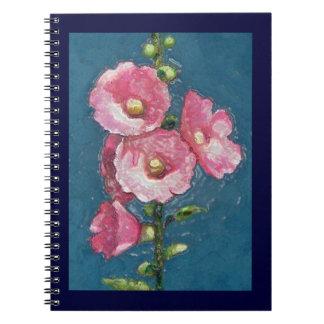 "Pink Hollyhocks: ""Plastic Wrap; Floral Art Spiral Note Book"