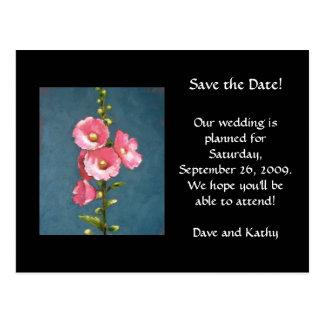 PINK HOLLYHOCKS, SAVE THE DATE POSTCARD