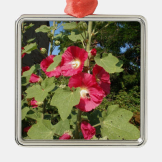 Pink Hollyhocks Square Metal Christmas Ornament