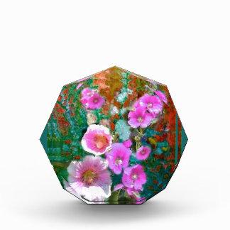 Pink hollyhocks Teal Garden gifts by Sharles Acrylic Award