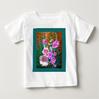 Pink hollyhocks Teal Garden gifts by Sharles Baby T-Shirt