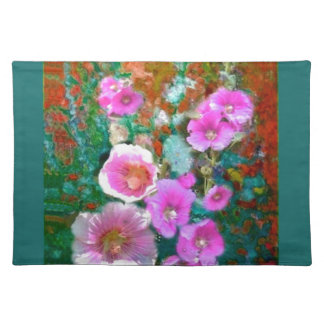 Pink hollyhocks Teal Garden gifts by Sharles Place Mats