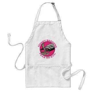 Pink Honey Badgers 'fear no evil' Adult Apron