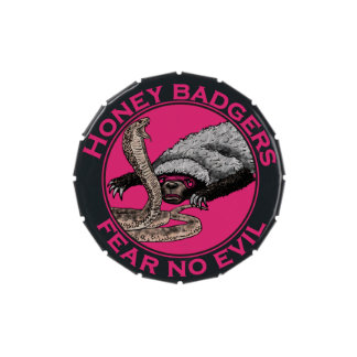 Pink Honey Badgers 'fear no evil' Jelly Belly Tin