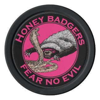 Pink Honey Badgers 'fear no evil' Poker Chip Set