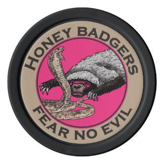 Pink Honey Badgers 'fear no evil' Set Of Poker Chips