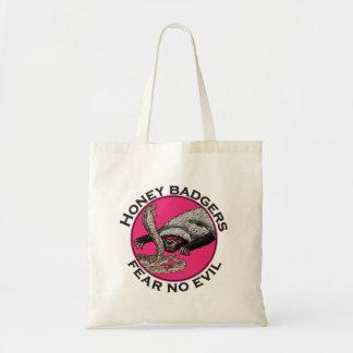 Pink Honey Badgers 'fear no evil' Tote Bag