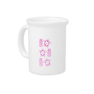 Pink Honu And Tiki Mask Beverage Pitcher