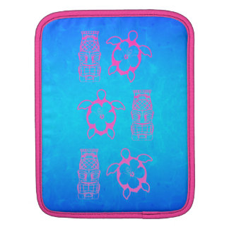 Pink Honu And Tiki Mask Sleeve For iPads