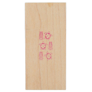 Pink Honu And Tiki Mask Wood USB 2.0 Flash Drive
